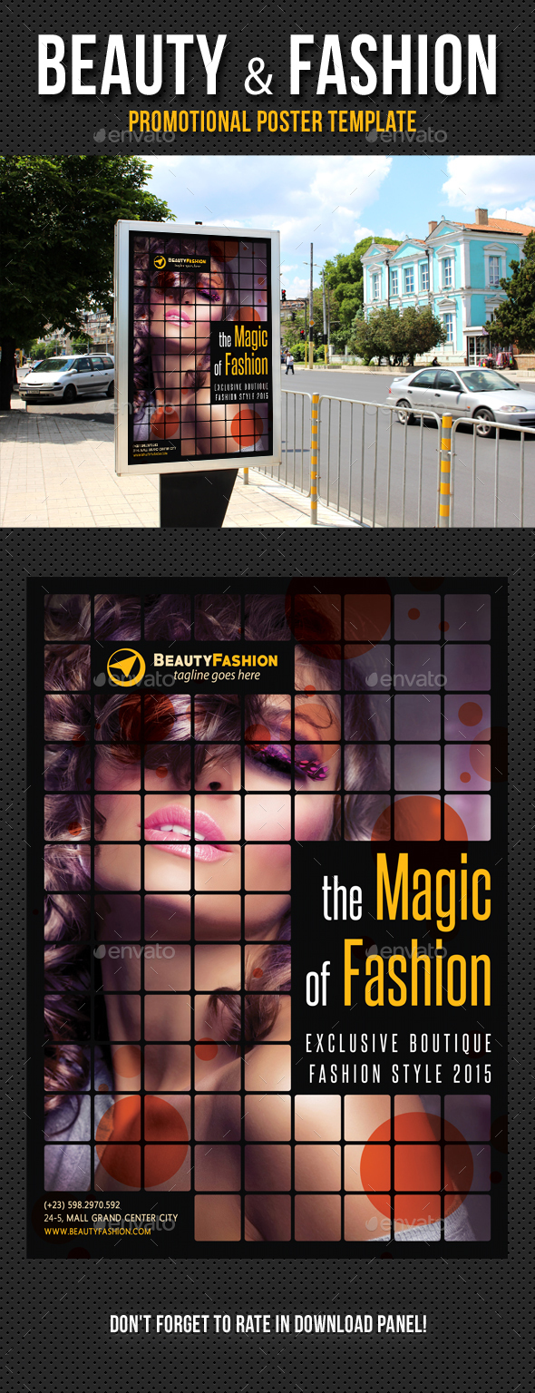 Beauty and Fashion Poster Template V05 - Signage Print Templates