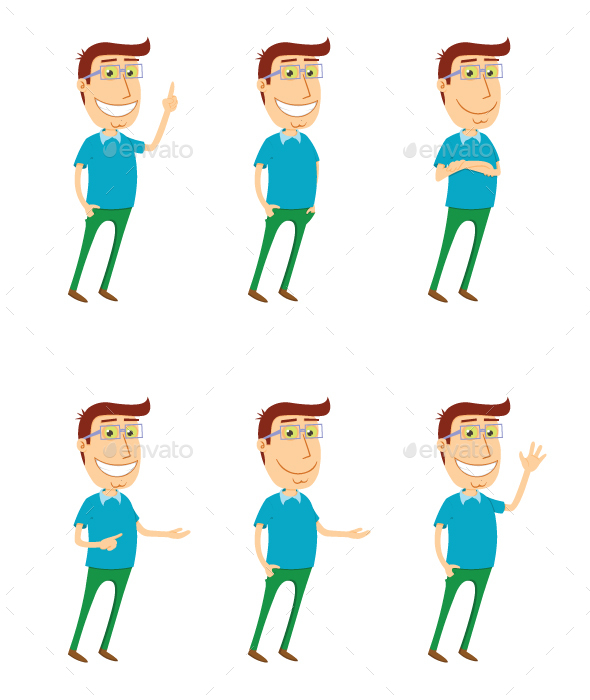 Standing Man with Various Poses - People Characters