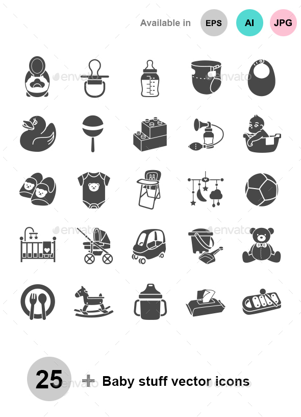 Baby Stuff Vector Icons - Man-made objects Objects