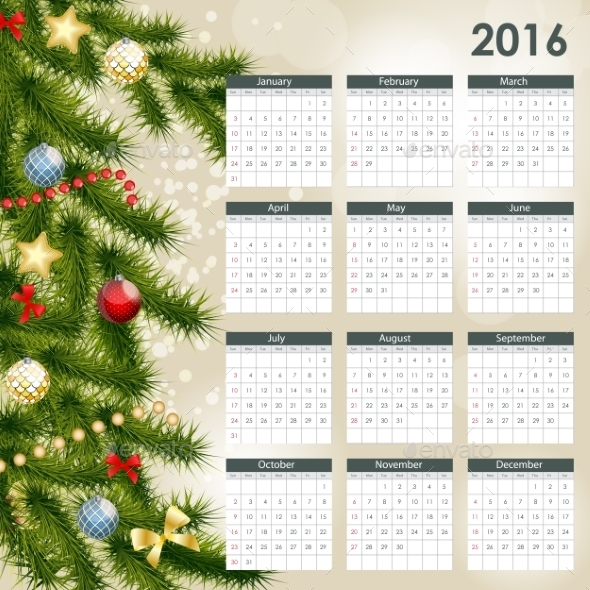 2016 New Year Calendar - Miscellaneous Vectors