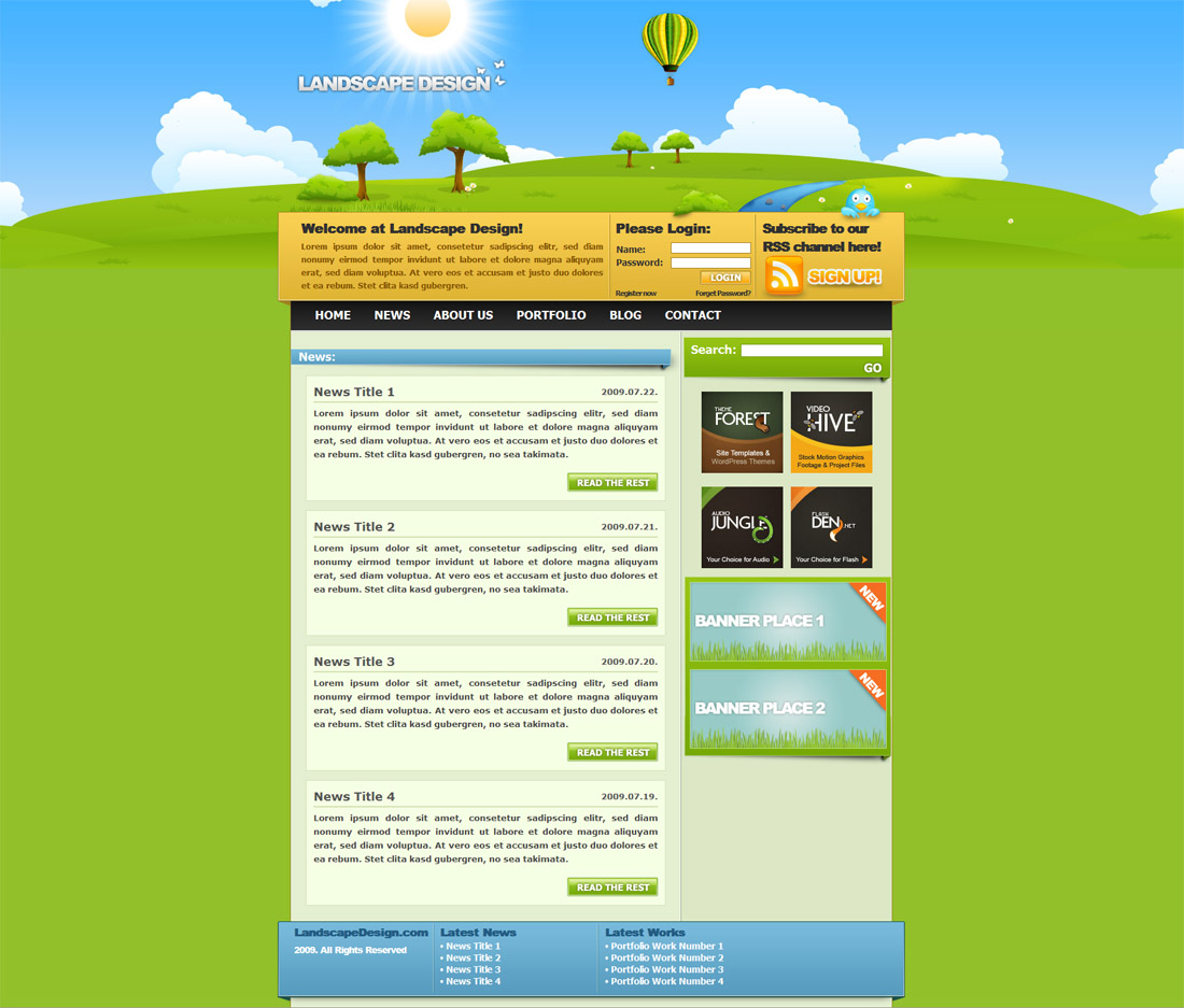Landscape Design Drawn Styled Xhtml Amp Css Template By