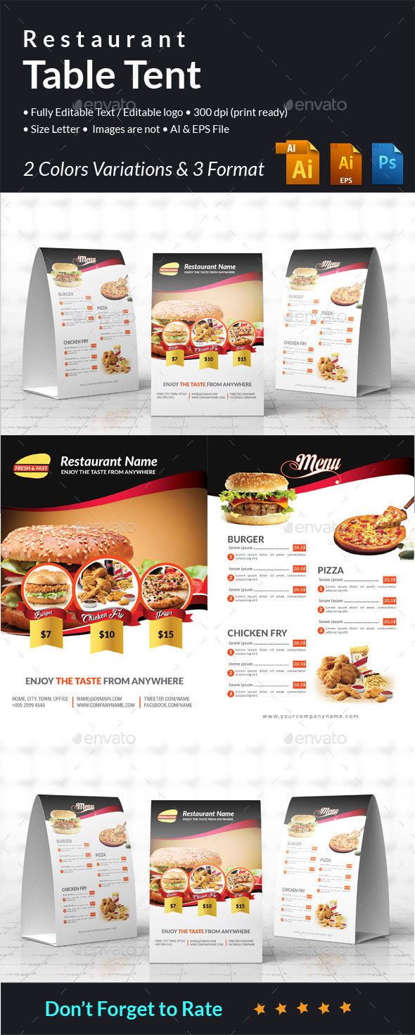 Restaurant Table Tent - Food Menus Print Templates