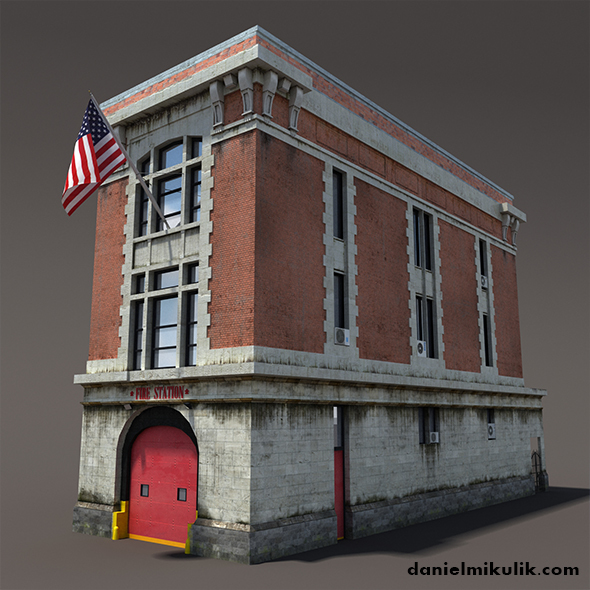 Fire Station Building Low Poly - 3DOcean Item for Sale