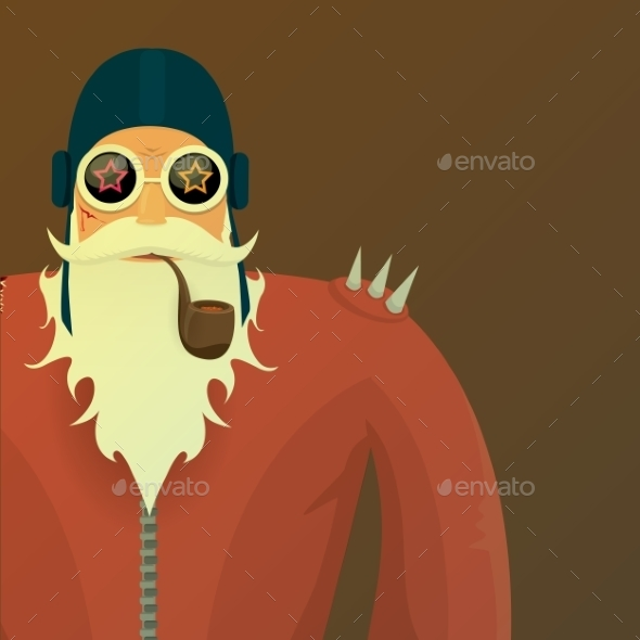 Vector Biker Santa Claus With Smoking Pipe. - People Characters
