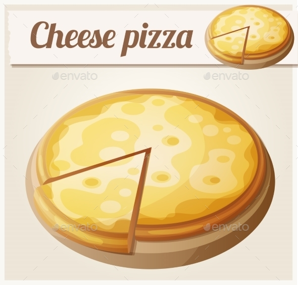Cheese Pizza. Detailed Vector Icon - Food Objects