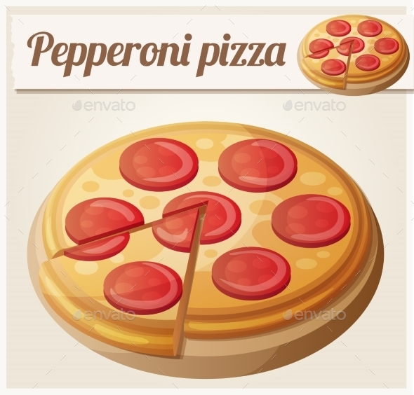 Pepperoni Pizza. Detailed Vector Icon - Food Objects