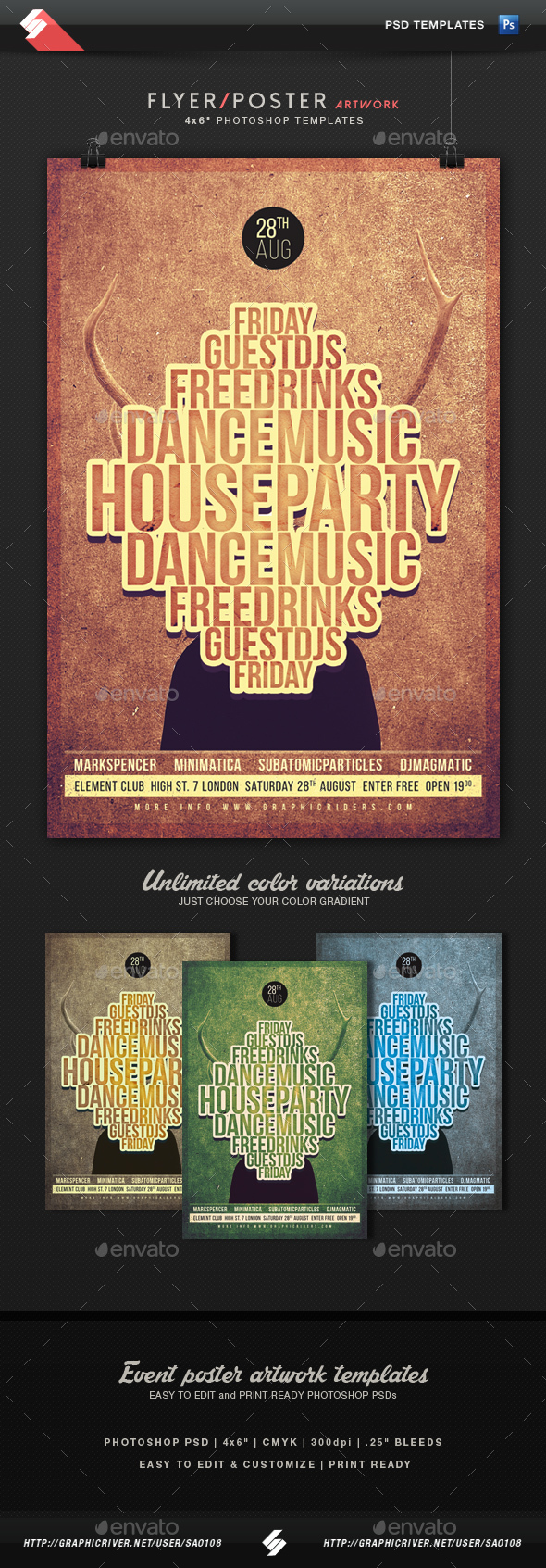 House Music 2 - Party Flyer Artwork Template - Clubs & Parties Events