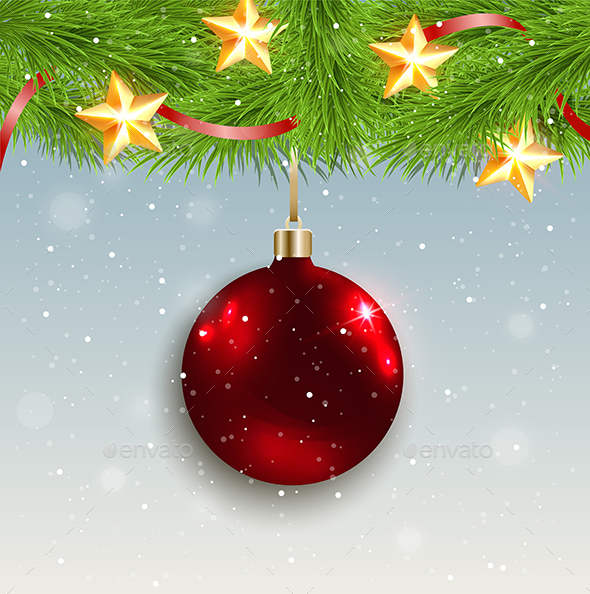 Red Decoration and Green Fir Branch - Christmas Seasons/Holidays