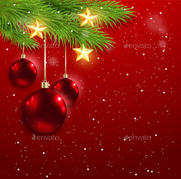 Red Decorations and Golden Stars - Christmas Seasons/Holidays