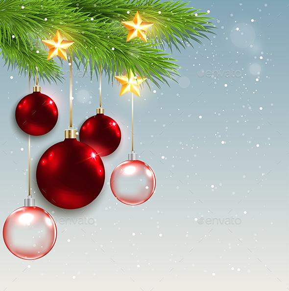 Christmas Background with Red Decorations - Christmas Seasons/Holidays