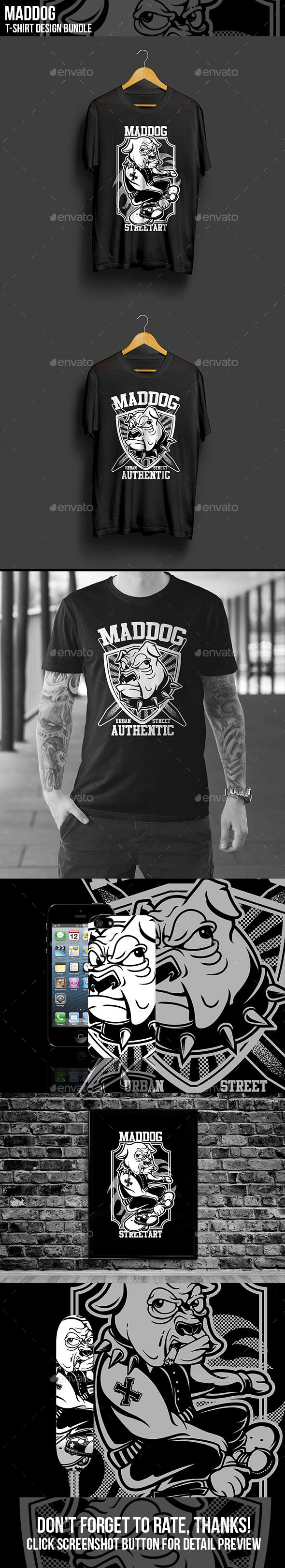 Maddog T-Shirt Design Bundle - Funny Designs