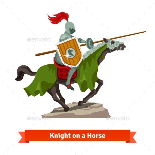Armoured Medieval Knight Riding on a Horse - Animals Characters
