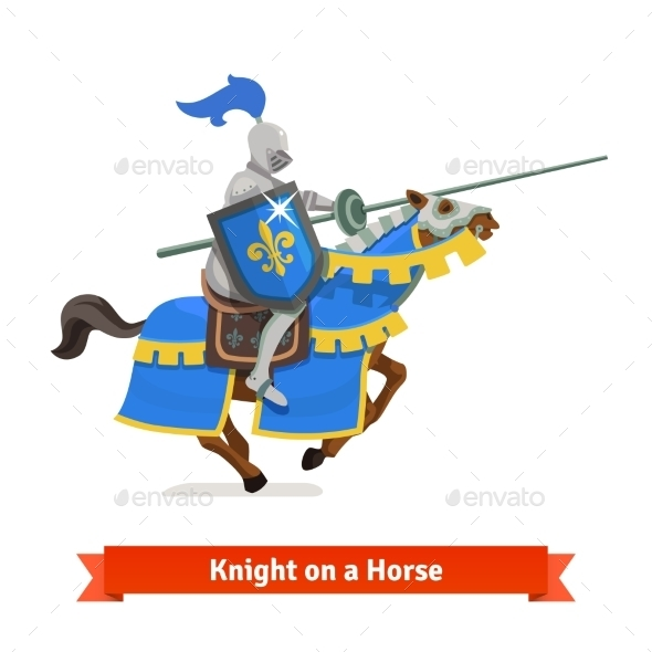 Armoured Medieval Knight Riding On a Horse - Characters Vectors