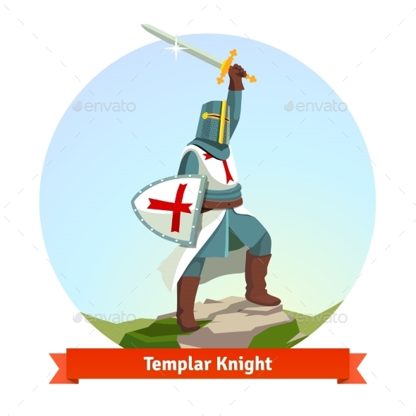 Knight Templar in Armour with Shield and Sword - People Characters
