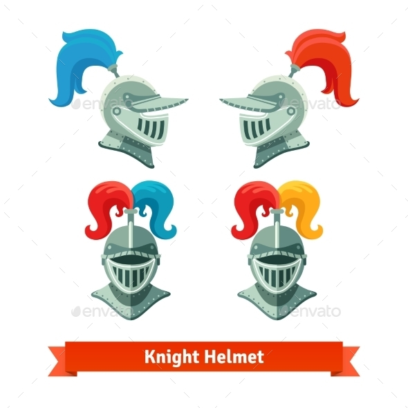 Medieval Knights Helmet with Plume - Man-made Objects Objects