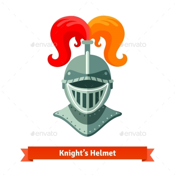 Front View Of Medieval Knights Helmet With Plume  - Objects Vectors