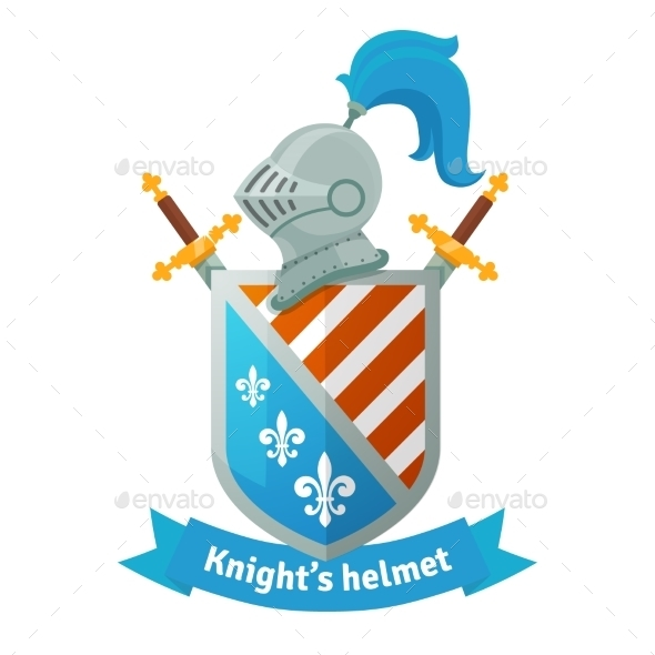 Medieval Coat of Arms with Knight Helmet - Decorative Symbols Decorative