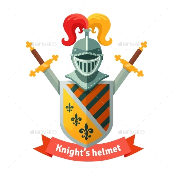 Medieval Coat Of Arms With Knight Helmet - Objects Vectors