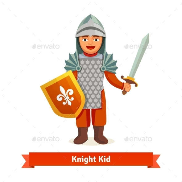 Cheerful Kid in Knights Armour with Helmet - Characters Vectors