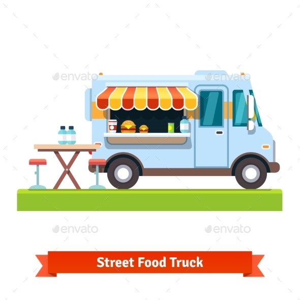 Opened Street Food Truck With Free Table - Food Objects