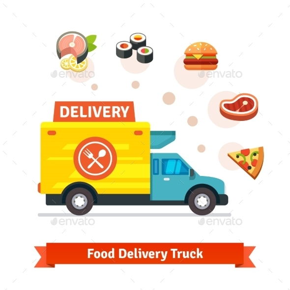 Restaurant Food Delivery Truck With Meal Icons - Food Objects