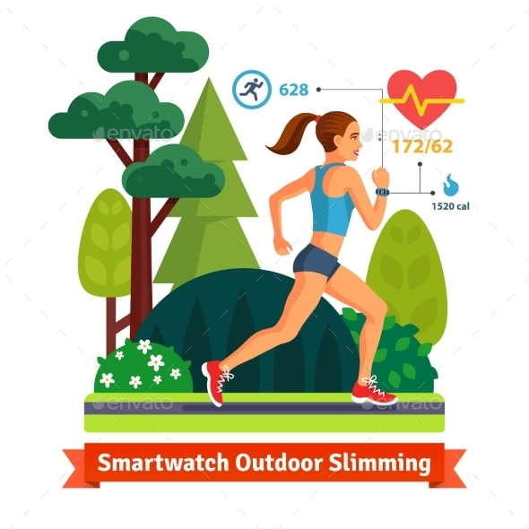 Slimming Woman Running in the Park - Sports/Activity Conceptual