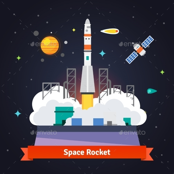 Rocket Launch From Spaceport Pad - Communications Technology