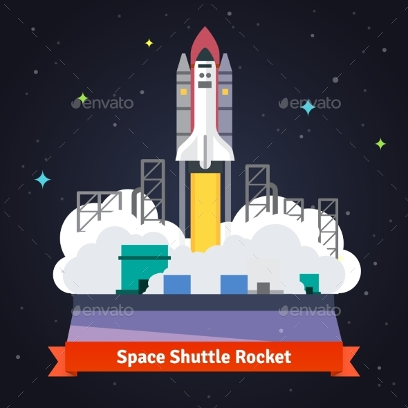 Space Shuttle Rocket Launch From Spaceport - Technology Conceptual