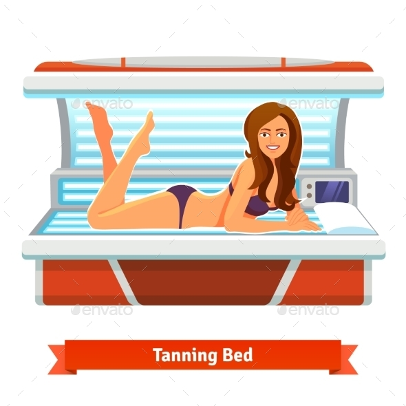 Young Pretty Woman In Tanning Bed. Artificial Tan - People Characters