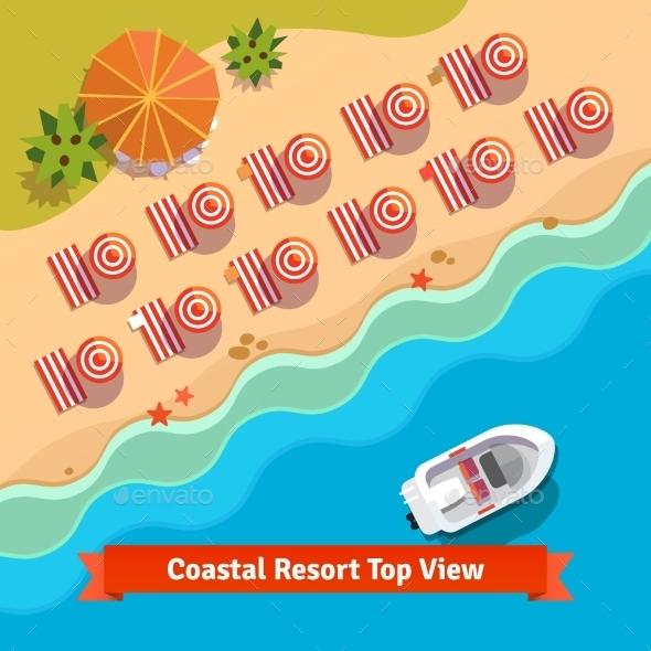 Coastal Resort Beach Top View - Travel Conceptual
