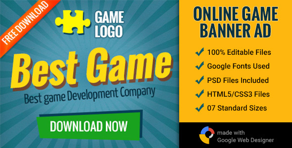 GWD | Online Gaming Banner - 7 Sizes - CodeCanyon Item for Sale