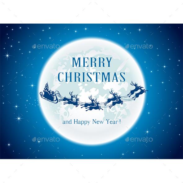 Christmas Background with Moon and Santa - Christmas Seasons/Holidays