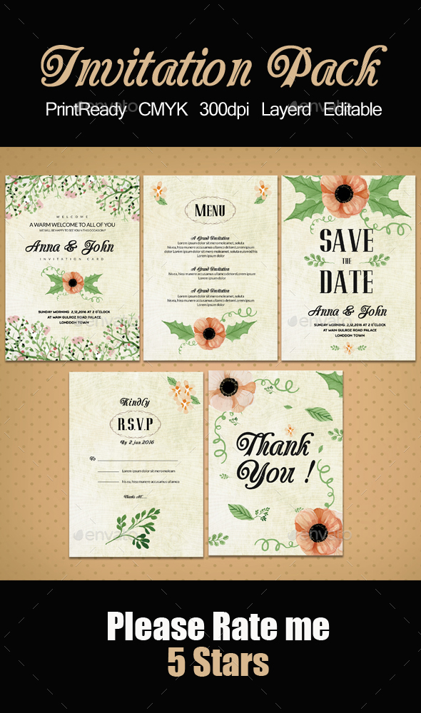 Invitation Pack Templates - Weddings Cards & Invites