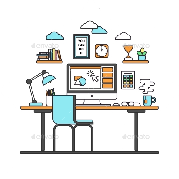 Workspace Line Art - Computers Technology