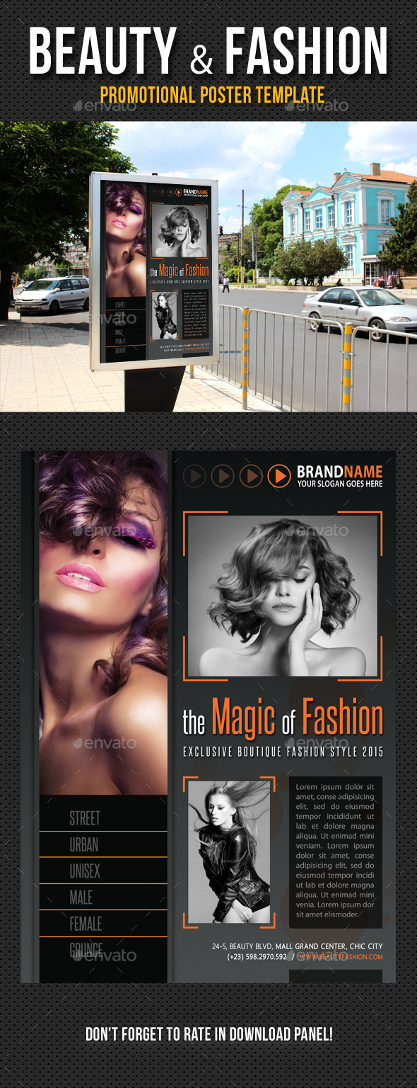 Beauty and Fashion Poster Template V06 - Signage Print Templates