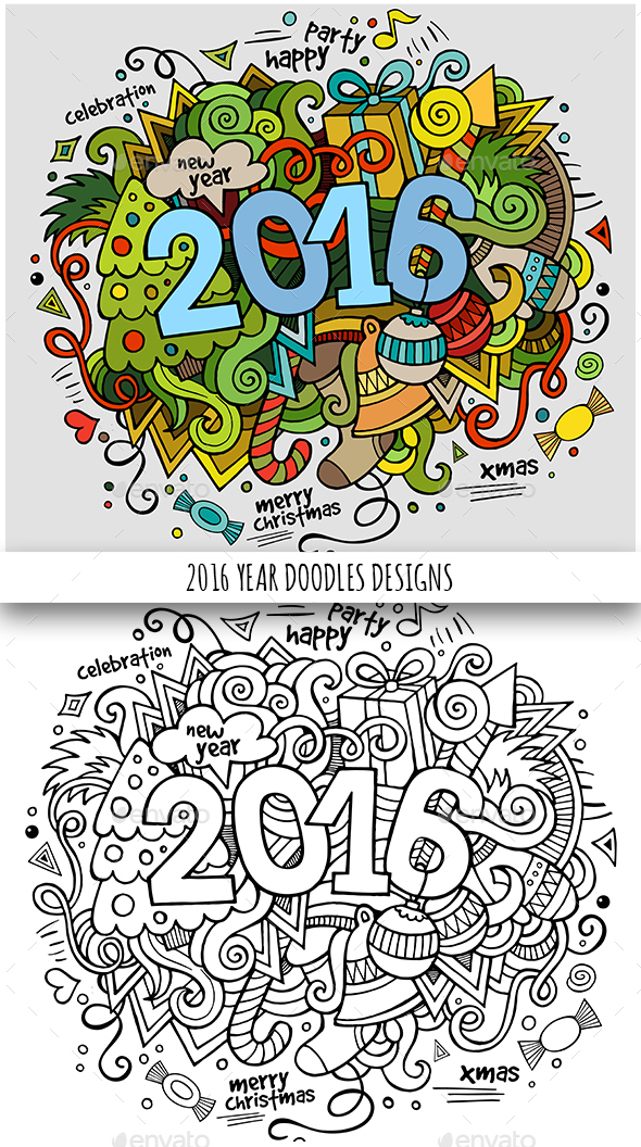 2016 Year Doodles Designs - New Year Seasons/Holidays