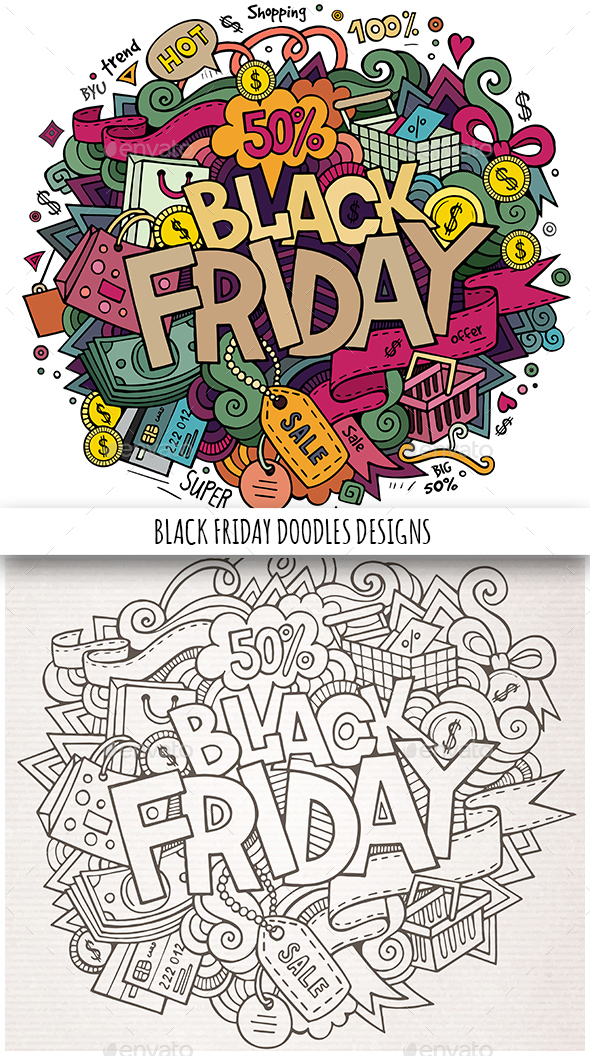 Black Friday Doodles Design - Retail Commercial / Shopping