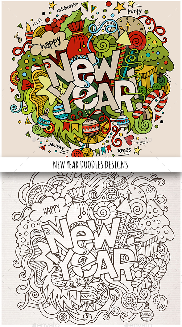 2 New Year Doodles Design - New Year Seasons/Holidays