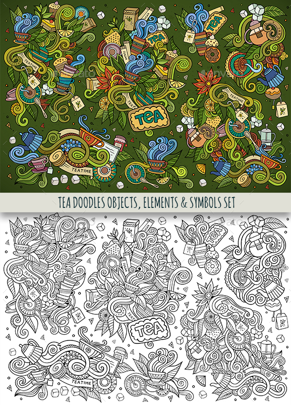 Tea Doodles Symbols Set - Food Objects