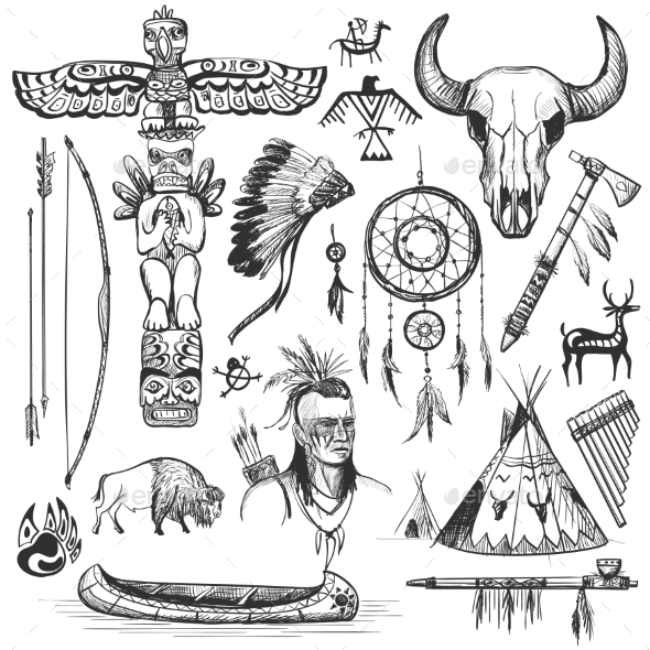 Set of Wild West American Indian Designed Elements - Decorative Symbols Decorative
