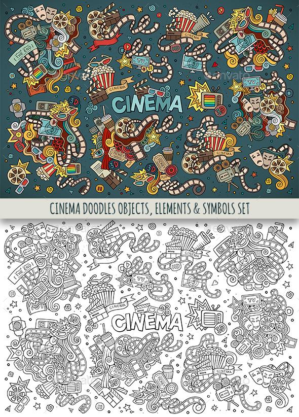 Cinema Doodles Symbols Set - Media Technology
