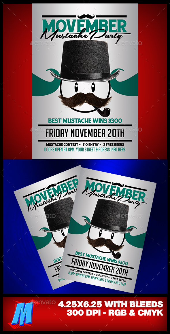 Movember Mustache Party Flyer - Clubs & Parties Events