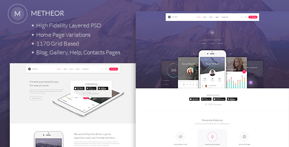 Metheor – Multi-Purpose App Showcase PSD Template