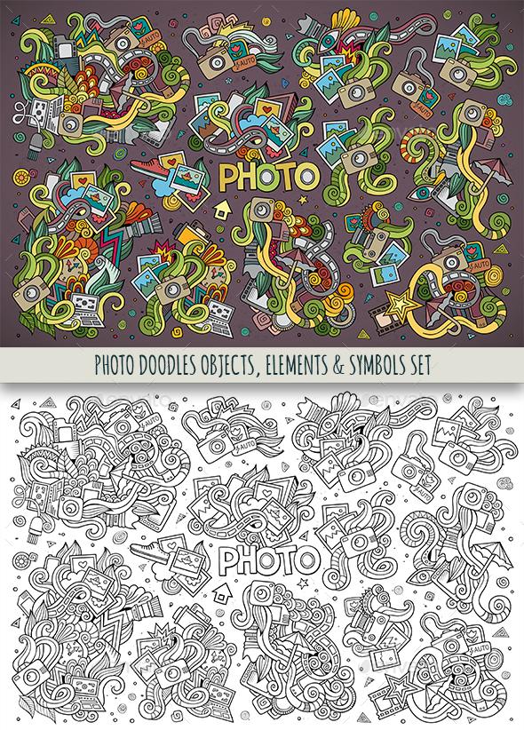 Photo Doodles Symbols Set - Technology Conceptual