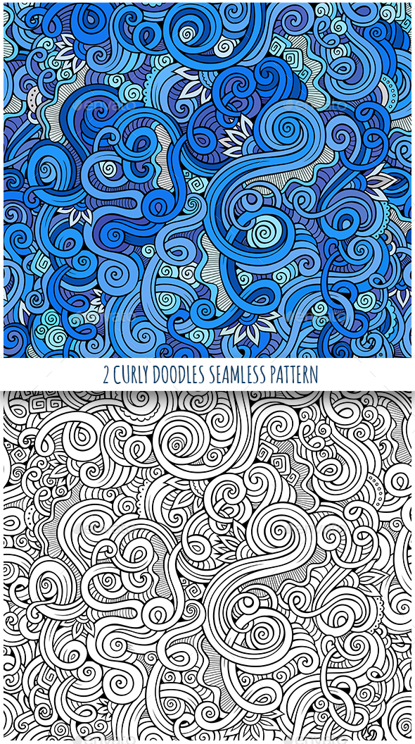 2 Curly Seamless Patterns - Backgrounds Decorative