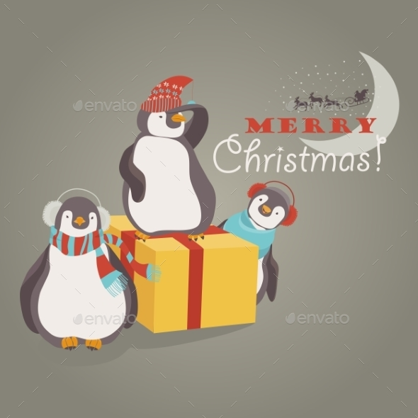 Funny Penguins Friends Celebrating Christmas - Christmas Seasons/Holidays