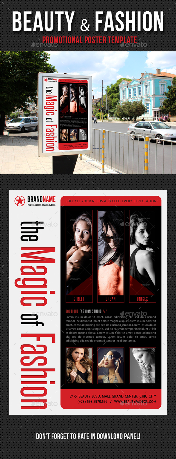 Beauty and Fashion Poster Template V07 - Signage Print Templates
