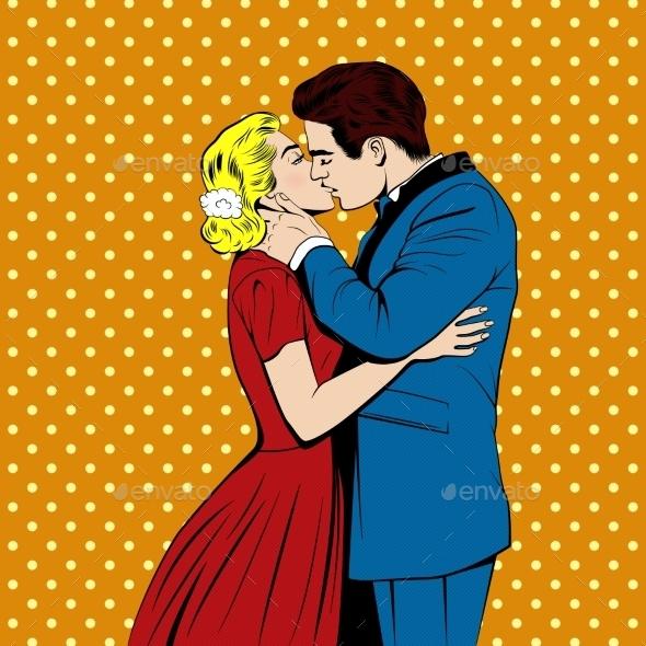 Vector Kissing Couple In The Pop Art Comics Style - Weddings Seasons/Holidays