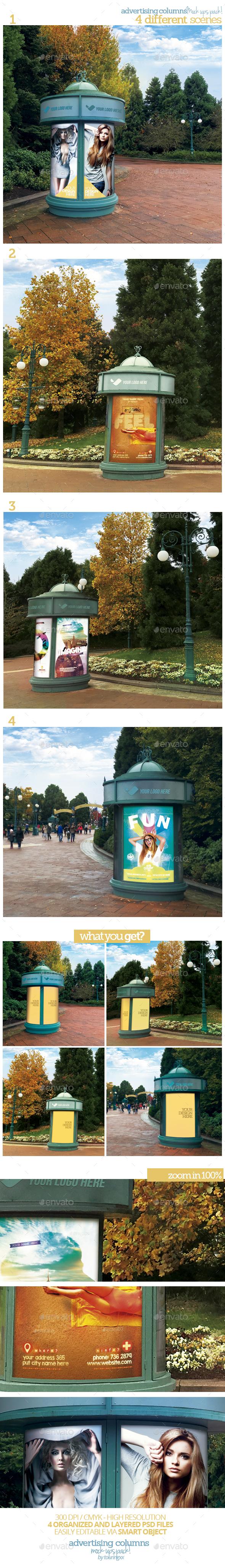 Advertising Columns Mock-Ups Pack - Posters Print