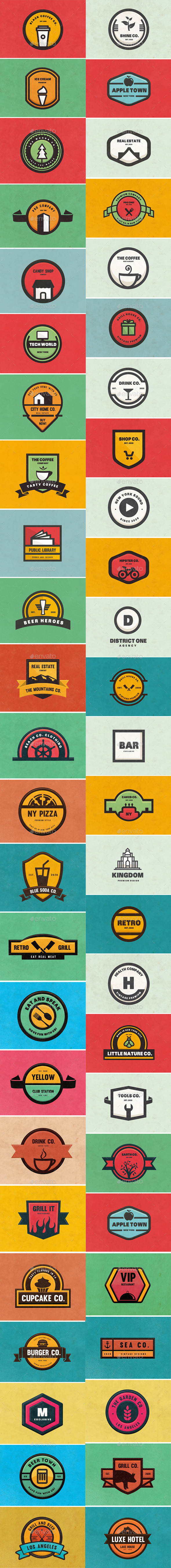 BUNDLE 50 Logos & Badges - Badges & Stickers Web Elements